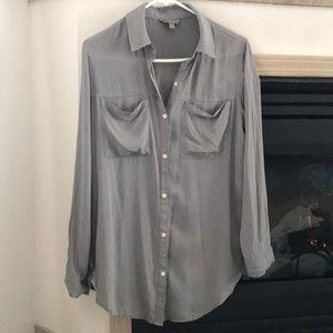 Rubbish grey long sleeve blouse